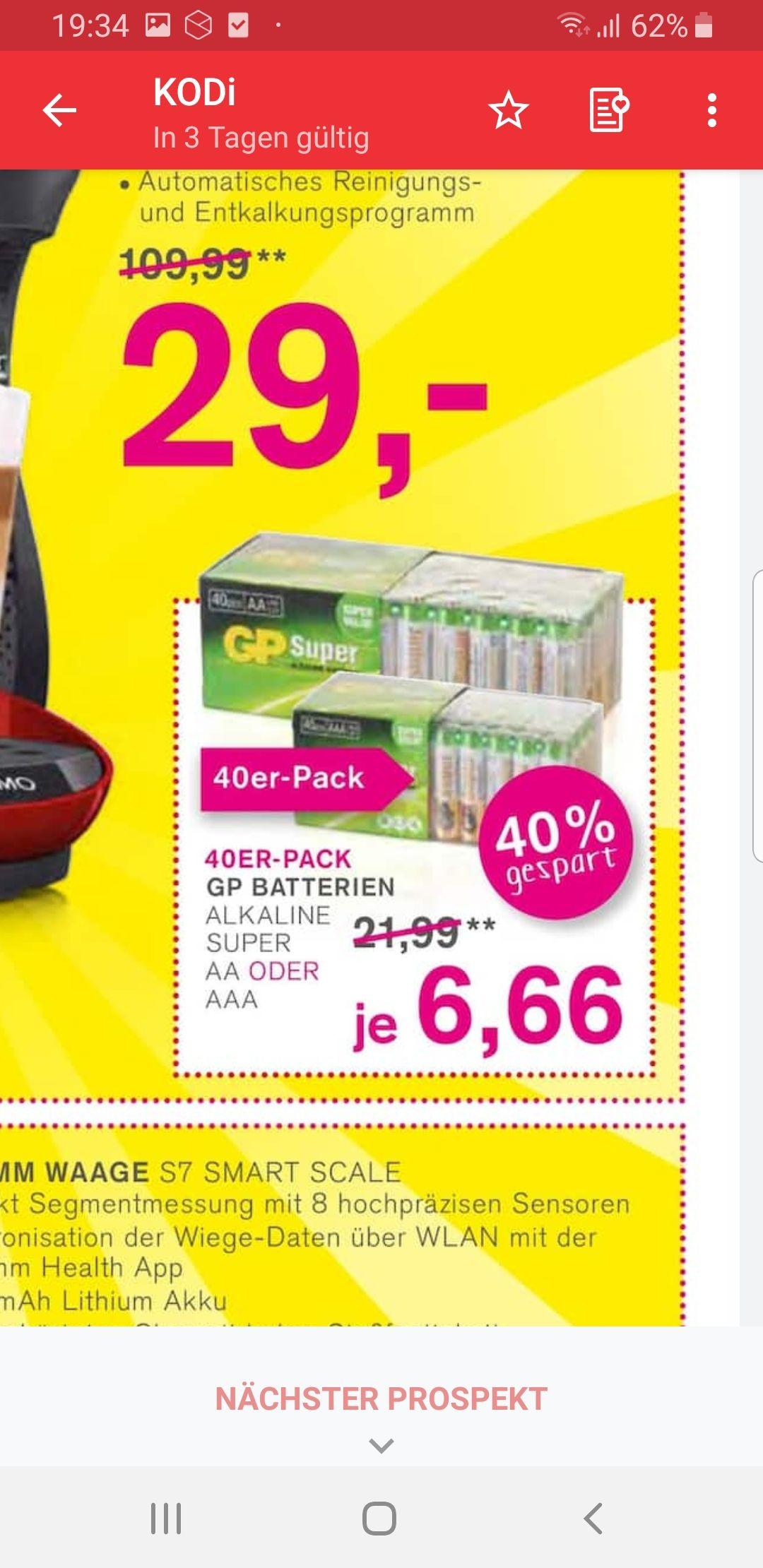 GP Super Alkaline Batteriepack 40 Stück AA  oder AAA bei Kodi am 4 & 5 Oktober