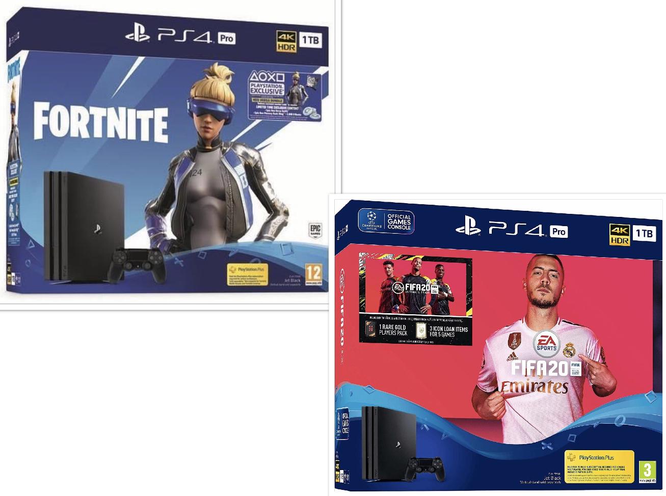 Sony Playstation 4 Pro Fortnite Neo Versa Bundle für 303€ / als FIFA 20 Bundle für 339€  [ebay App]