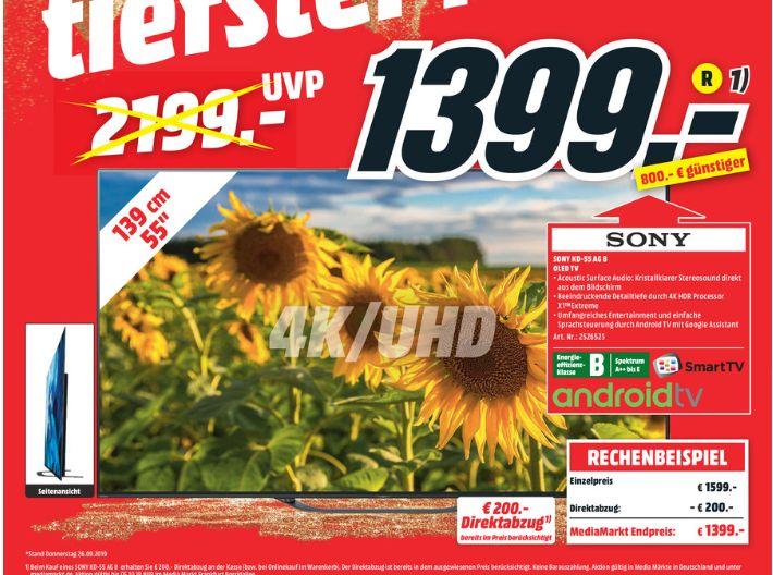 [Regional Mediamarkt Frankfurt-Borsigallee] Sony KD-55AG8 OLED 4K HDR TV 55 Zoll (Modell 2019) für 1399,-€