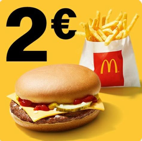 1 Cheeseburger und kl. Pommes für 2€ über die App [Mc Donalds]