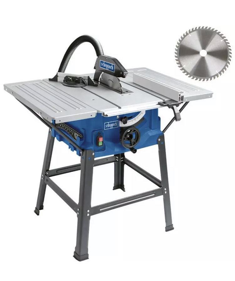 Scheppach Tischkreissäge HS100S 2000 W, mit Untergestell, 2 Tischverbreiterungen inkl. 2x gratis Sägeblatt Ø 250 mm incl. Versand