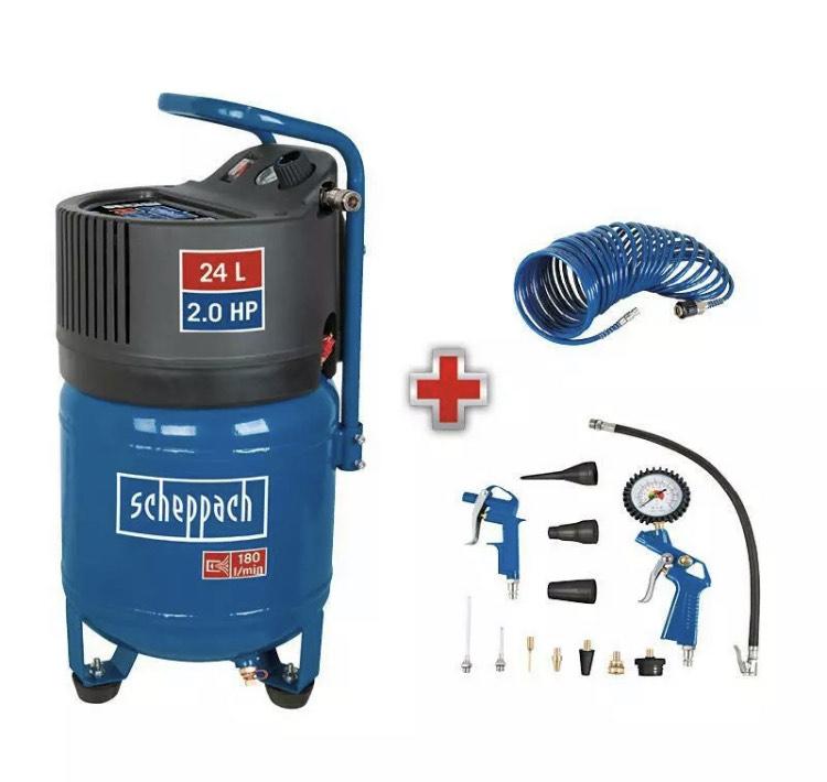 Scheppach Druckluft Kompressor 24L Luftkompressor 10bar 2PS stehend HC24V 180 L/min|ölfrei|+13tlg Druckluft-Set+Sprialschlauch incl. Versand