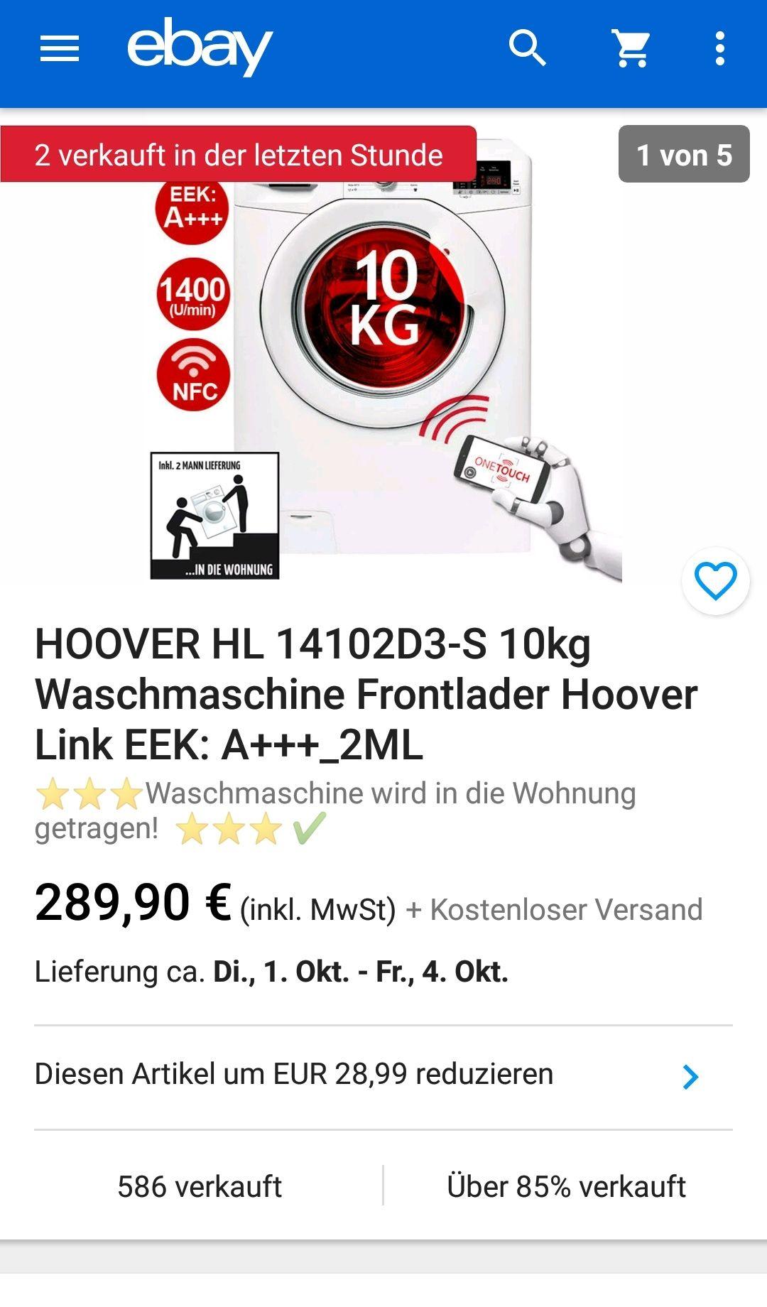 HOOVER 10kg HL 14102D3-S Frontlader-Waschmaschine Hoover Link EEK: A+++