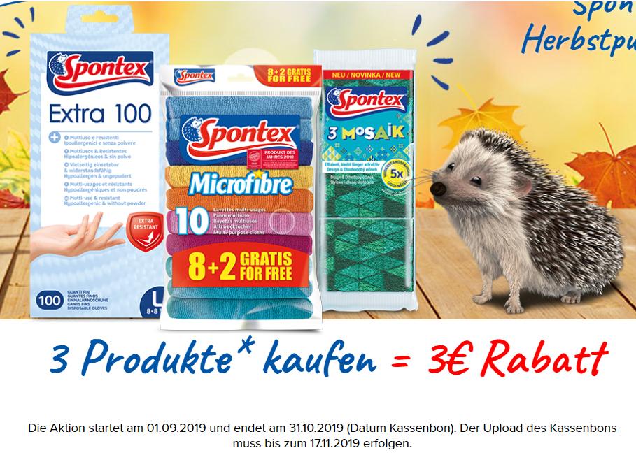 3€ Cashback für den Kauf von Spontex Produkten im Wert von 10€ bis 31.10.2019