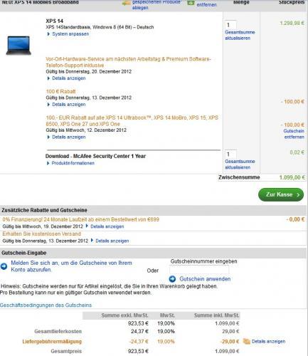 "Dell XPS14 mit i7-3517U , 1600x900 14"" Display für 989,10 EUR"