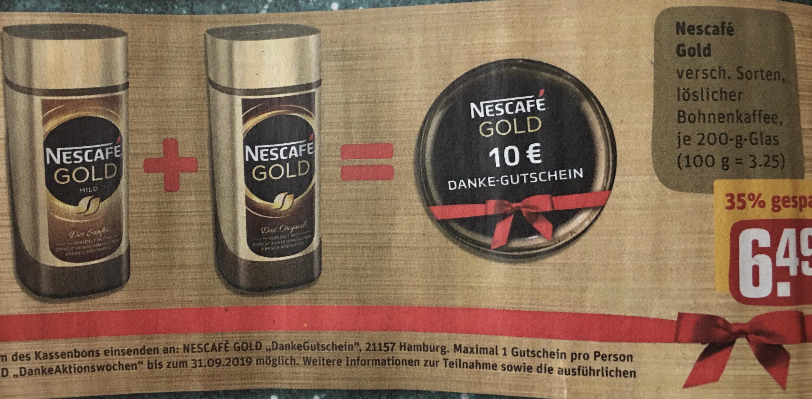 2 Gläser Nescafé Gold von REWE + 10€ REWE-Gutschein