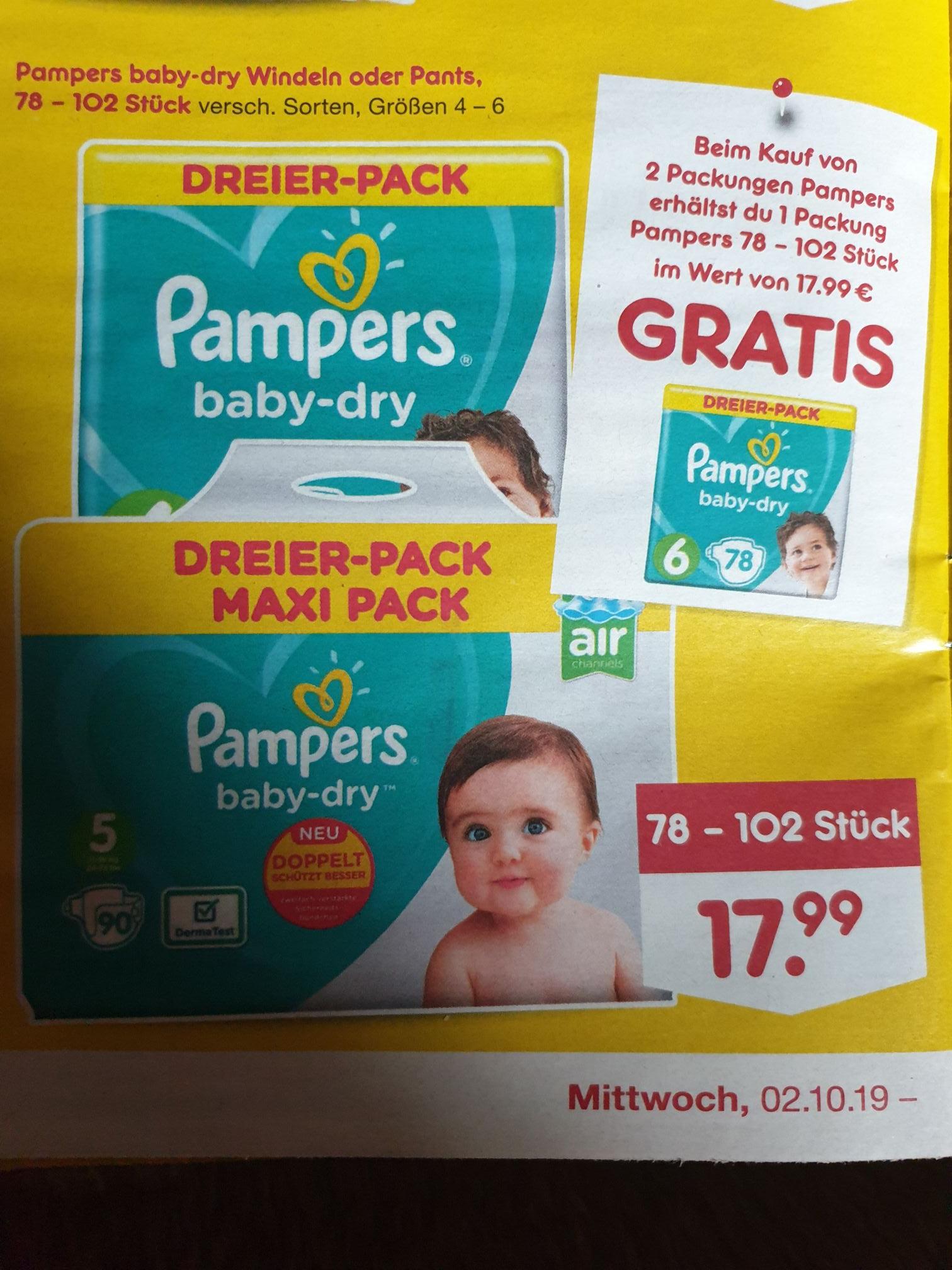 (Netto MD) 3 für 2 / Pampers baby-dry Windeln oder Pants Dreier-Pack Größe 4-6 für 35,98€ ergibt Stückpreis ab 11ct.