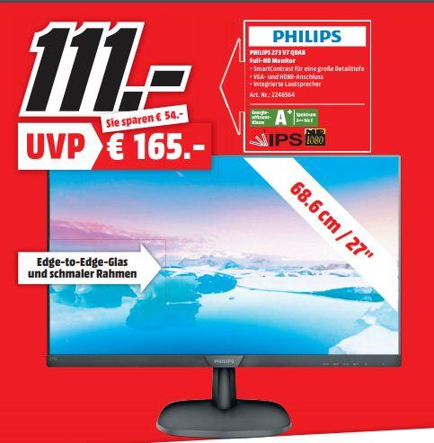 [Regional Mediamarkt Rhein-Neckar-Montagsangebot] Philips 273V7QDAB/00 68 cm (27 Zoll) Monitor (VGA, DVI, HDMI, 5ms ,FHD 60Hz für 111,-€
