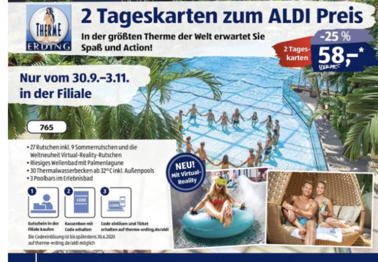 Aldi Süd Therme Erding Aktion                                2 Tageskarten -25%