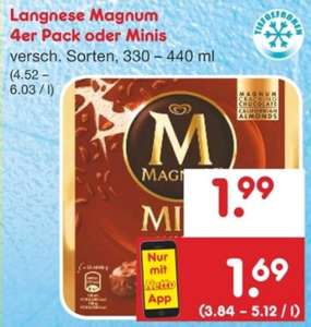 Magnum 4er Pack oder Minis für 1,69€ mit App-Coupon [Netto ab 30.09.]