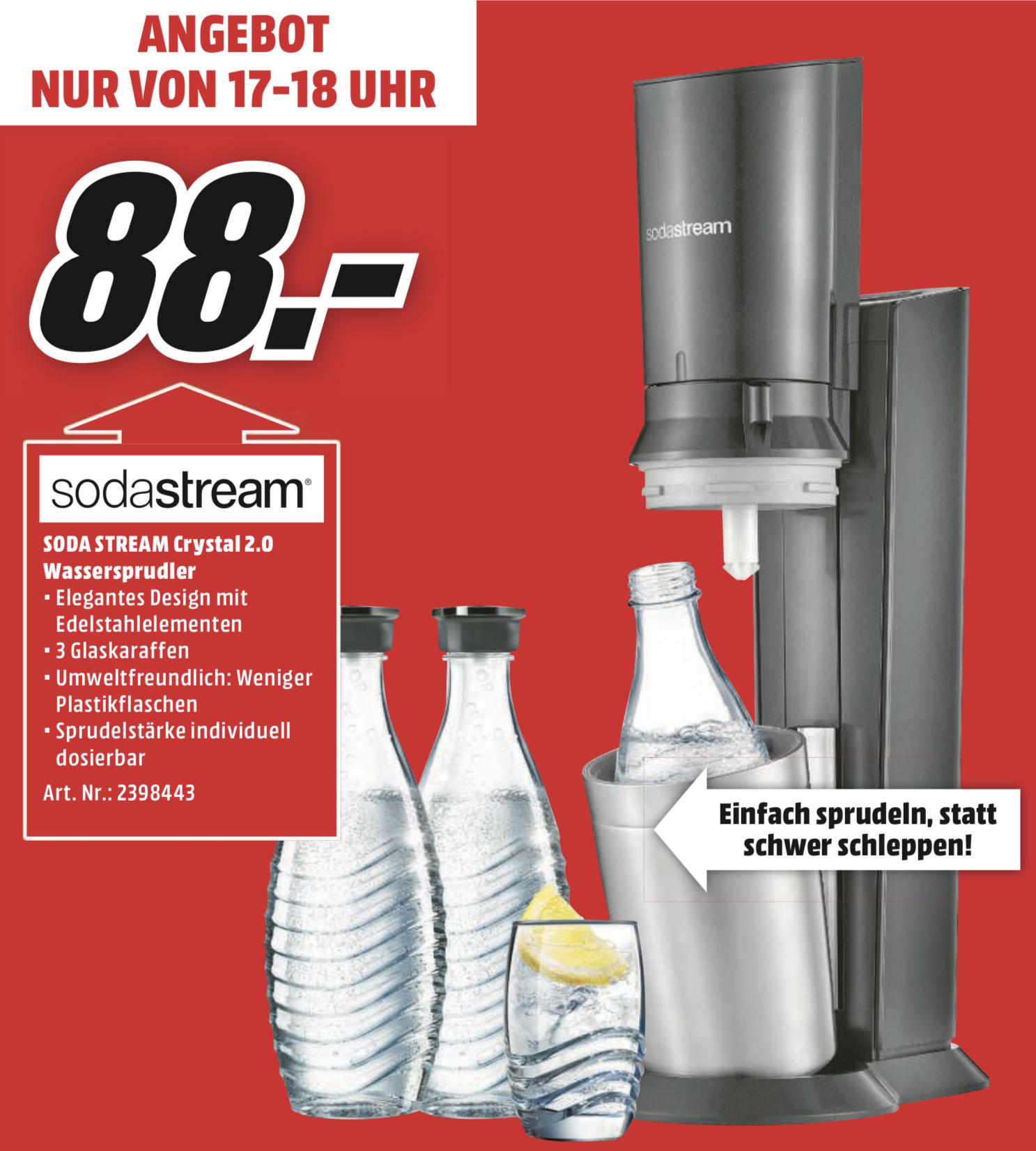 Lokal MM Recklinghausen: SODASTREAM Crystal 2.0 Wassersprudler inkl. 3 Glaskaraffen für 88€ - nur Sonntag von 17-18 Uhr