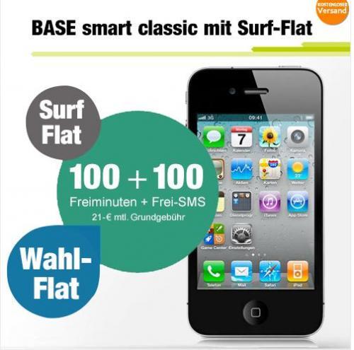 [ebay/logitel.de] iPhone 4 BASE Vertrag mit Wunschnetzflat + 100 Min + 100 SMS + 500 MB Internet für 21 Euro/Monat