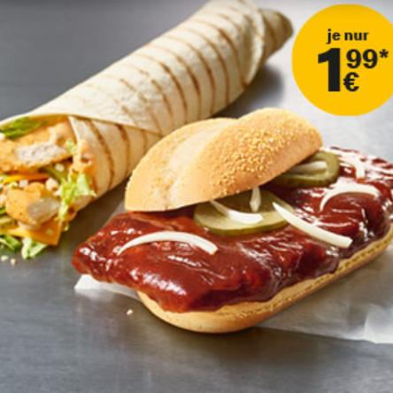 McRib und McWrap Chicken mit Big Mac-Sauce je 1,99€ bei McDonalds