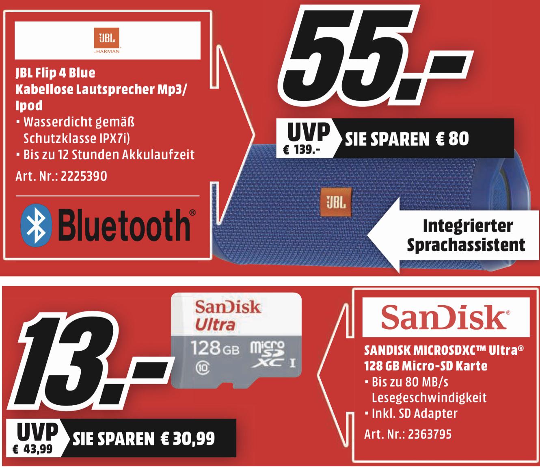 Lokal MM Aachen: JBL Flip 4 Bluetooth Lautsprecher blau für 55€ / SanDisk Ulltra microSDXC 128GB für 13€