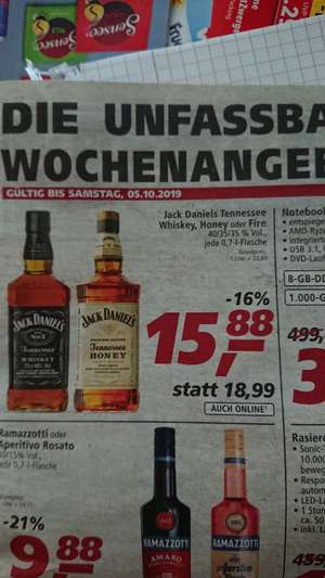 Jack Daniels Tennessee Whiskey, Honey oder Fire 0,7l bei real