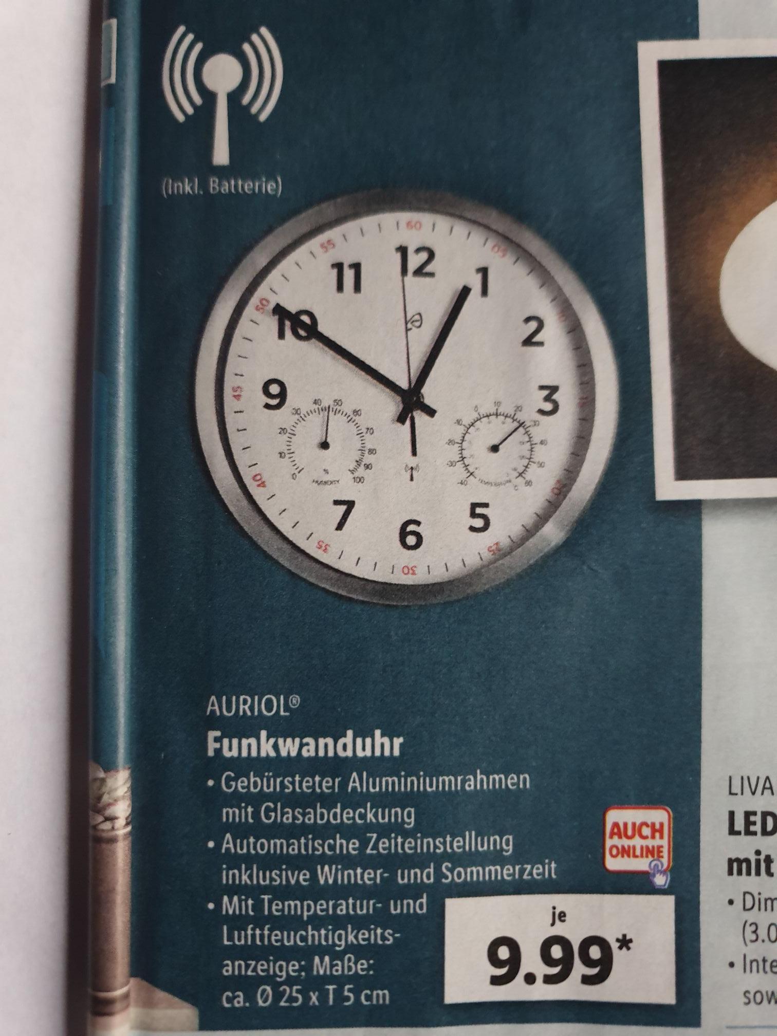 (Lidl) Funkwanduhr mit Temperatur/Luftfeuchtigkeitsanzeige / automatische Zeiteinstellung, inkl. Batterie, 25cm Alu für 9,99€ auch online