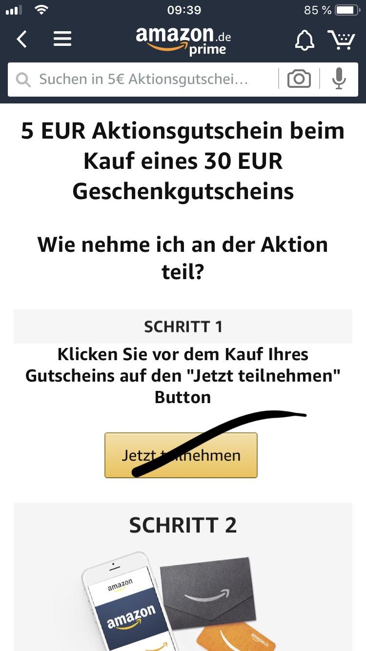 5€ Aktionsgutschein beim Kauf eines 30€ Amazon Gutscheins