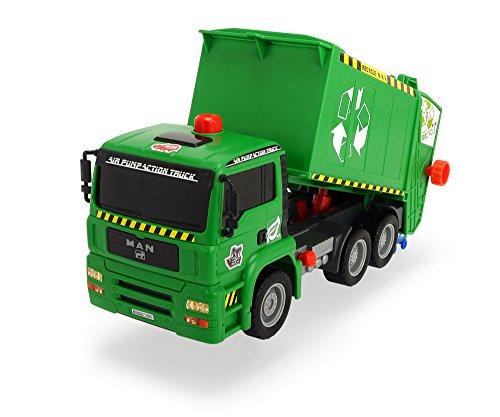 Dickie Toys 203805000 - Air Pump Garbage Truck, Müllabfuhr mit Mülltonne, 31 cm
