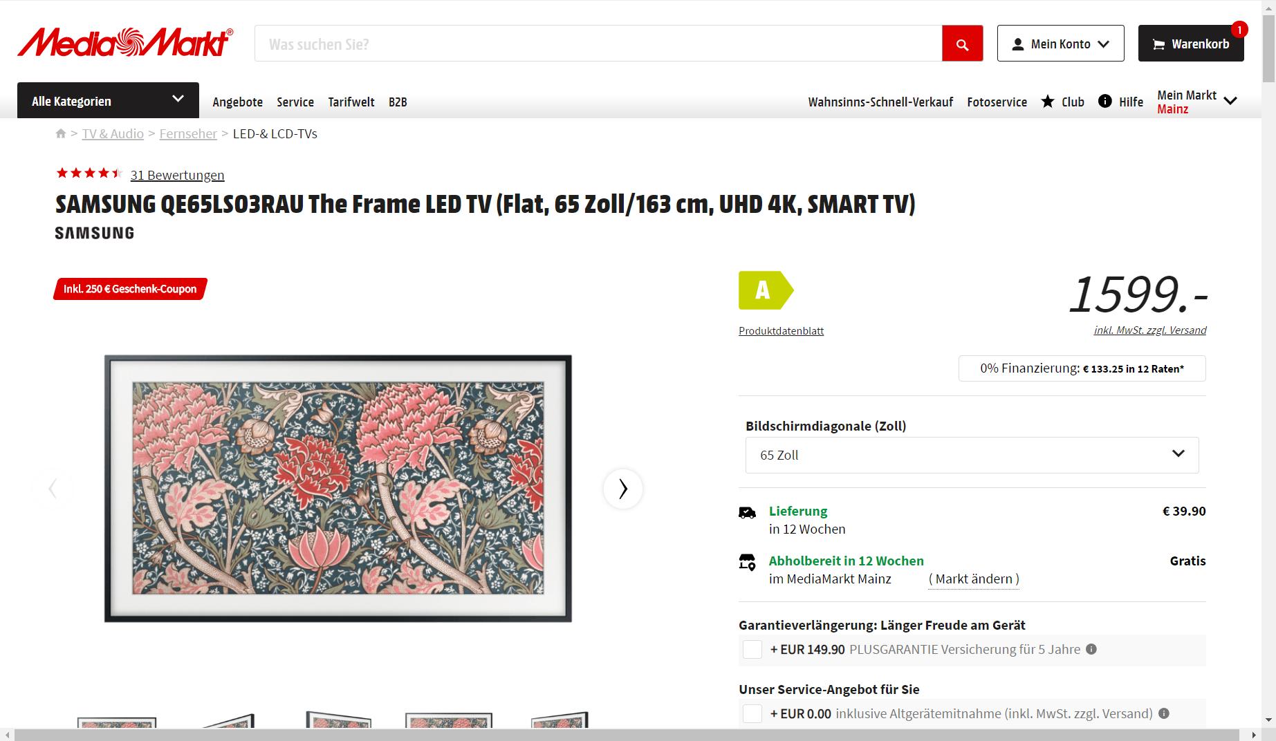 SAMSUNG The Frame 65 Zoll (QE65LS03RAU) mit 250€-Coupon
