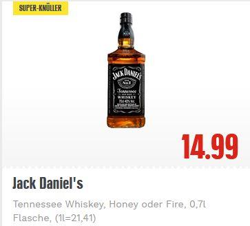 Jack Daniels Tennessee Whiskey, Honey oder Fire 0,7l bei EDEKA [lokal?]