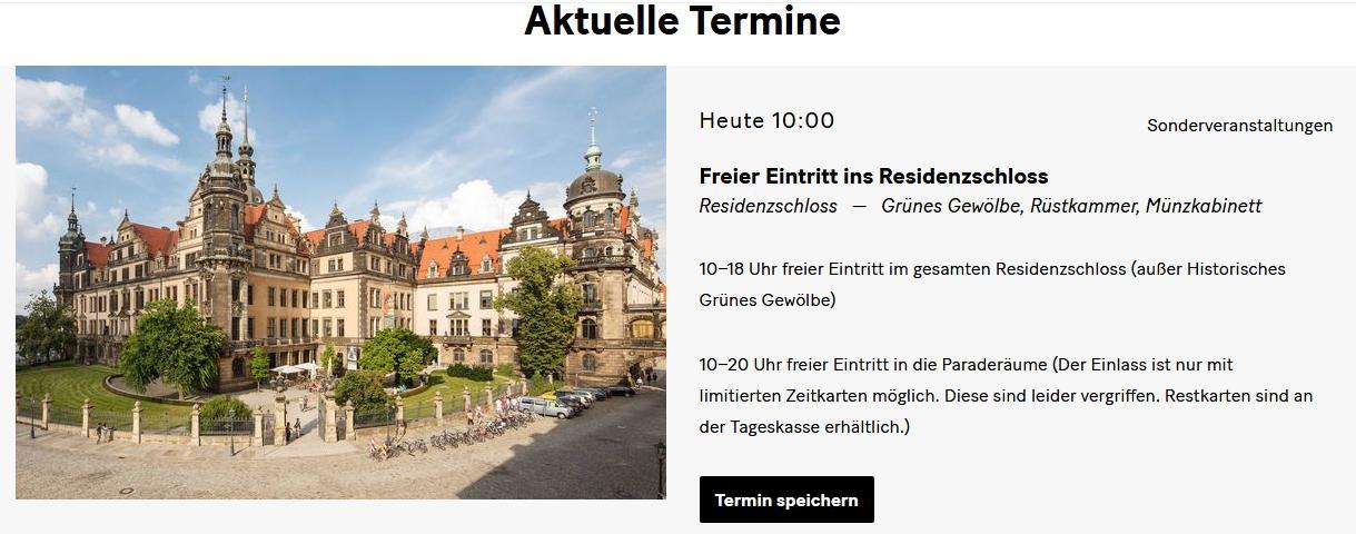[Lokal Dresden] Freier Eintritt ins Residenzschloss - Grünes Gewölbe, Rüstkammer, Münzkabinett