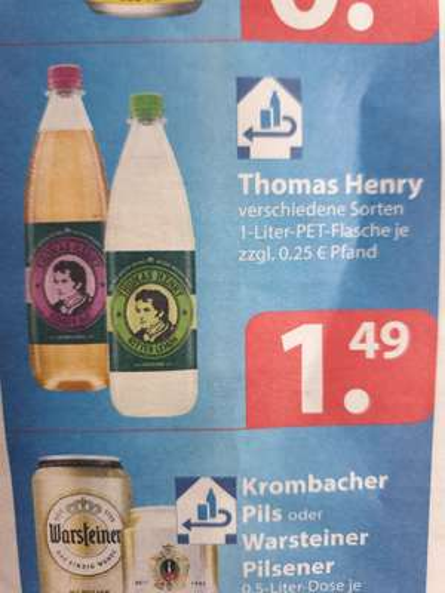 (Famila evtl. lokal) Thomas Henry Tonic-Water 1 Liter, versch. Sorten wie Ginger Ale für 1,49€