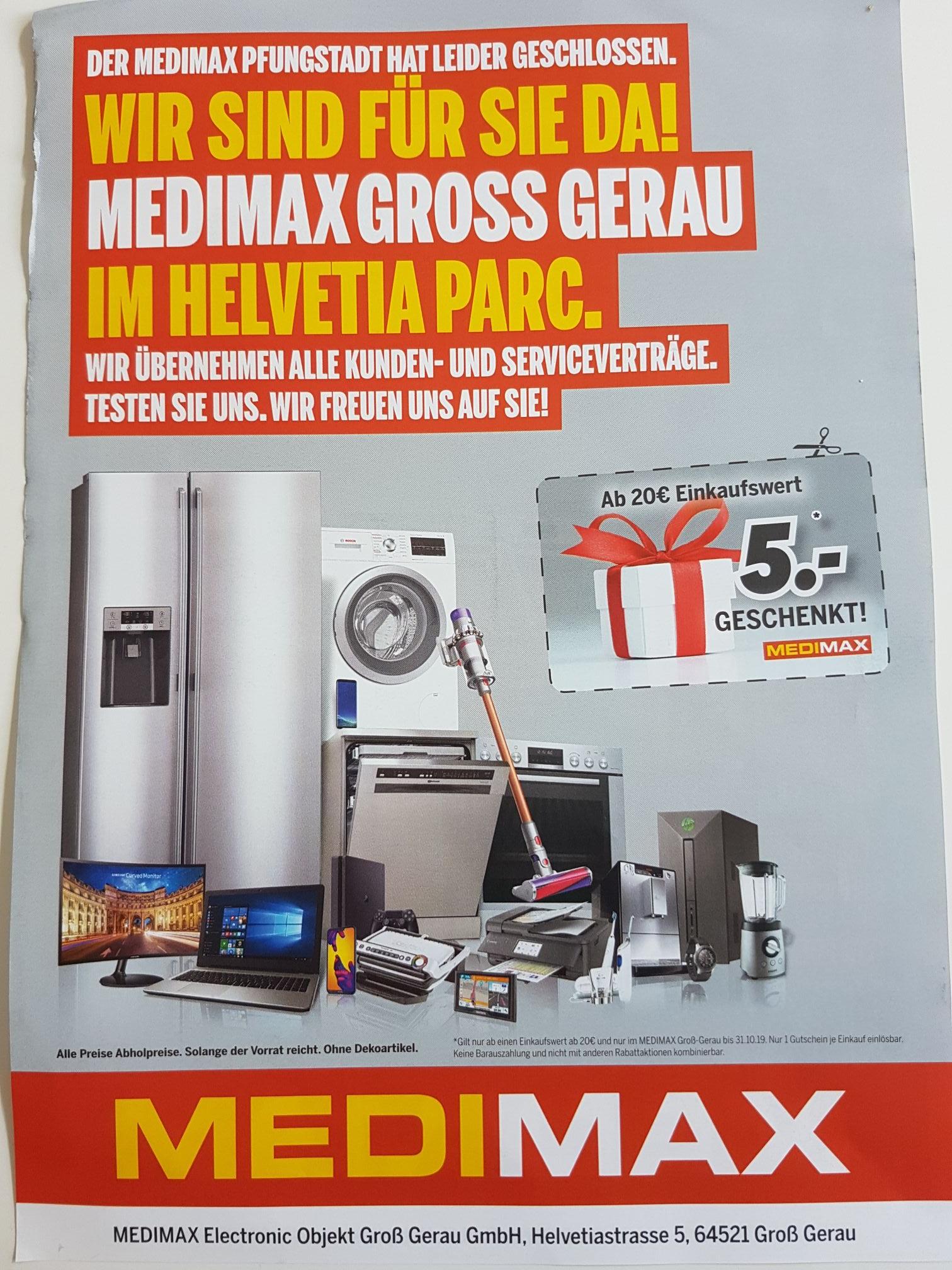 [Lokal] MEDIMAX Groß-Gerau Gutschein 5€ ab 20€ Einkaufswert