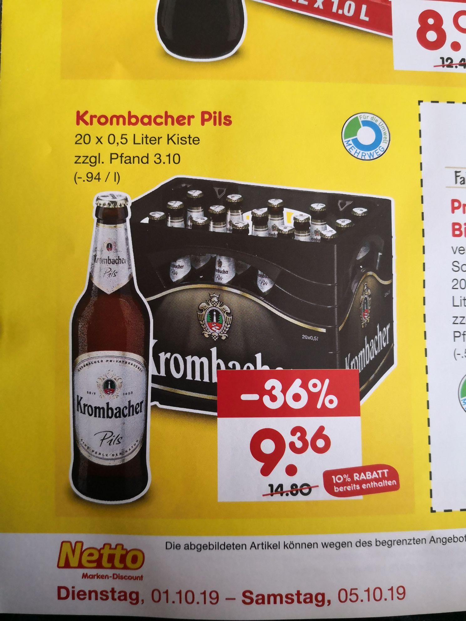 [Lokal Netto Kirchen-Sieg]  Krombacher Pils 20x0,5 Liter Kiste zzgl. Pfand für 9,36€,Coca Cola Kombikiste 8,09€  10% auf Alles*
