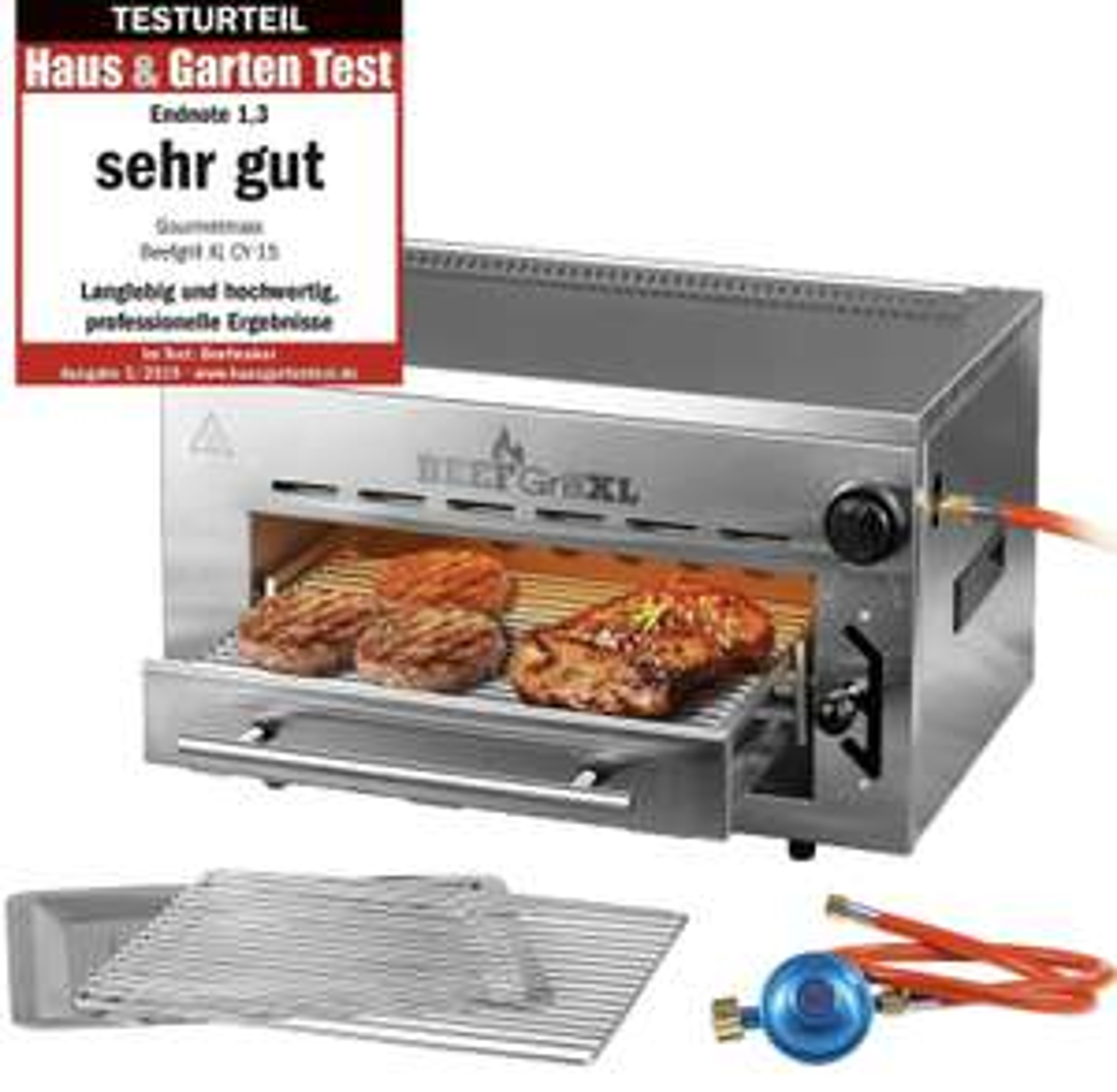 Beef Grill XL Hochtemperaturgrill Oberhitzegrill Gasgrill BBQ 800° Edelstahl für 89,99€ inkl. Versandkosten