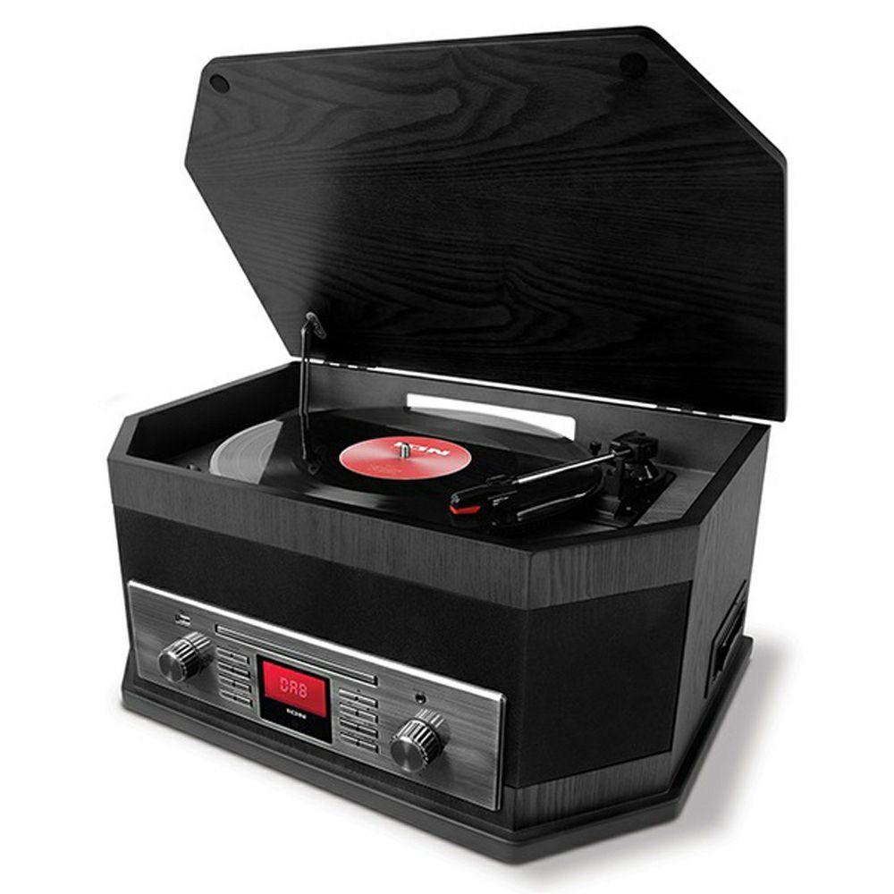 ION Octave: 8-in-1 Kompaktanlage (Plattenspieler, Kassettenspieler, CD-Player, DAB+ Tuner, UKW Radio, AUX, USB, Bluetooth)