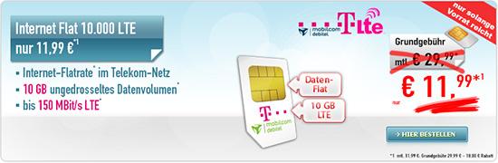 "Internet-Flat LTE 10.000"" Vertrag im Telekom-Netz"