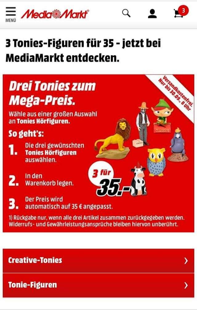 3 Tonies für 35€ (Media Markt, versandkostenfrei)