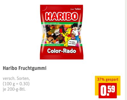 Haribo Fruchtgummi - REWE - 0,59EURO mit 31% Rabatt