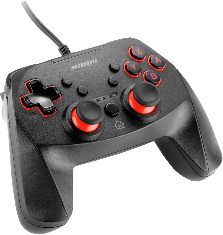 Kabelgebundenes Snakebyte Game:Pad S für Nintendo Switch (PS4-Anordnung der Tasten, duale Vibrationsmotoren, Turbo-Button, 3m Kabel)