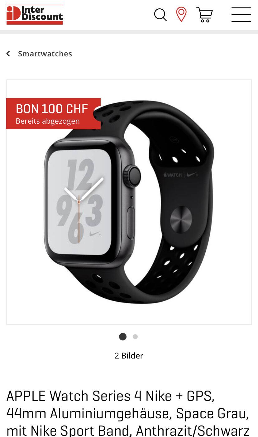 (Schweiz!) Apple Watch 4 44mm Nike Edition [Interdiscount]