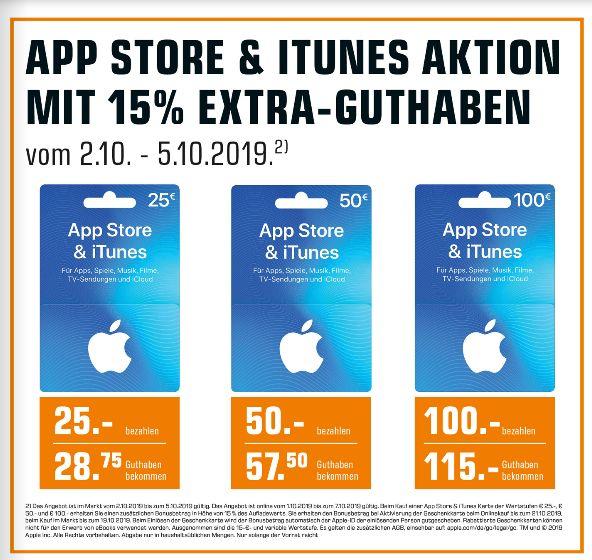 [Saturn ] 15% Extra Guthaben auf App-Store und Itunes Karten (25€,50€,100€)