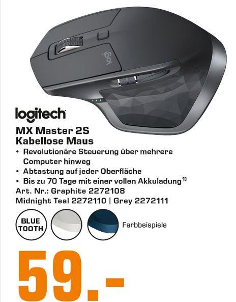 [Saturn] Logitech Maus MX Master 2S Wireless Mouse, mit Laser-Sensor und Unifying-Funktion für 59,-€ bei Abholung