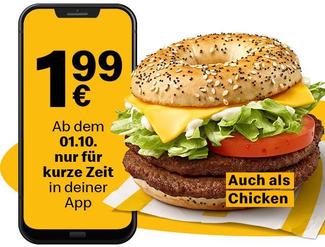 N.Y. Double Beef oder Chicken Bagel zum Probierpreis für 1,99€ [McDonald's]
