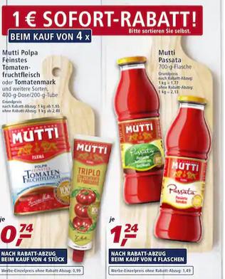 [REAL] Mutti Polpa 4x400-g-Dose 2,96 (0,74€ pro Dose)