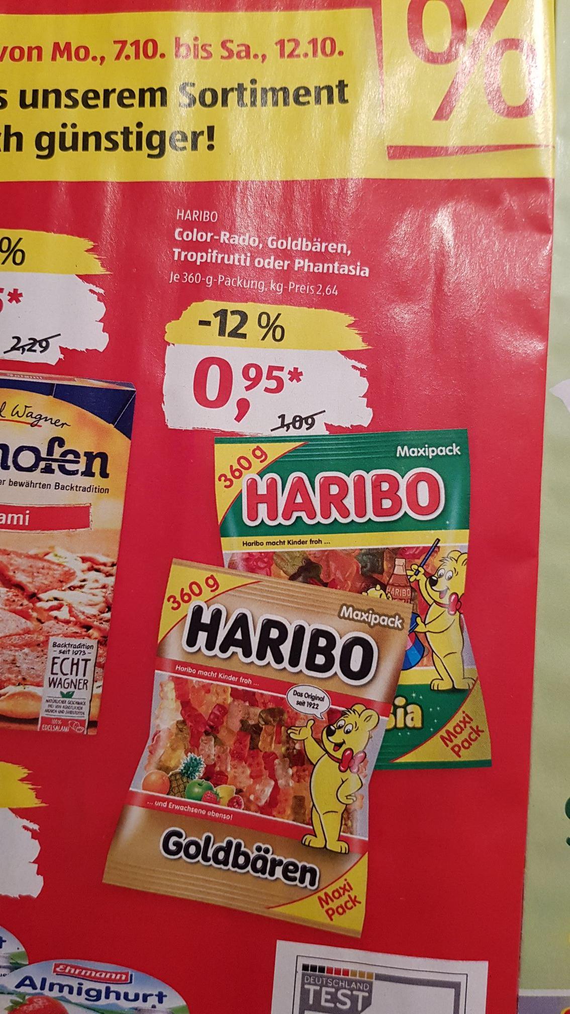 Haribo Color-Rado, Goldbären, Tropifrutti oder Phantasia für 2,64€/kg bei Aldi Süd