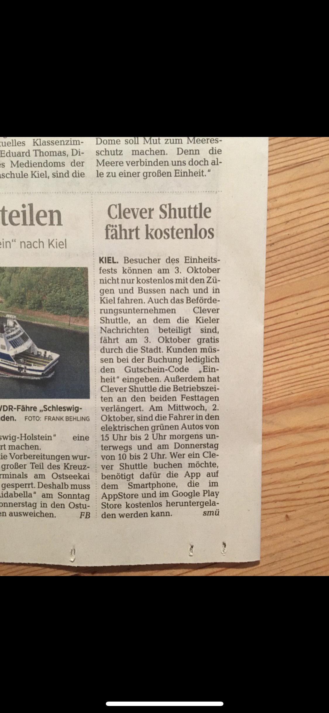 [Lokal] CleverShuttle Kiel ganzen Tag kostenlos fahren
