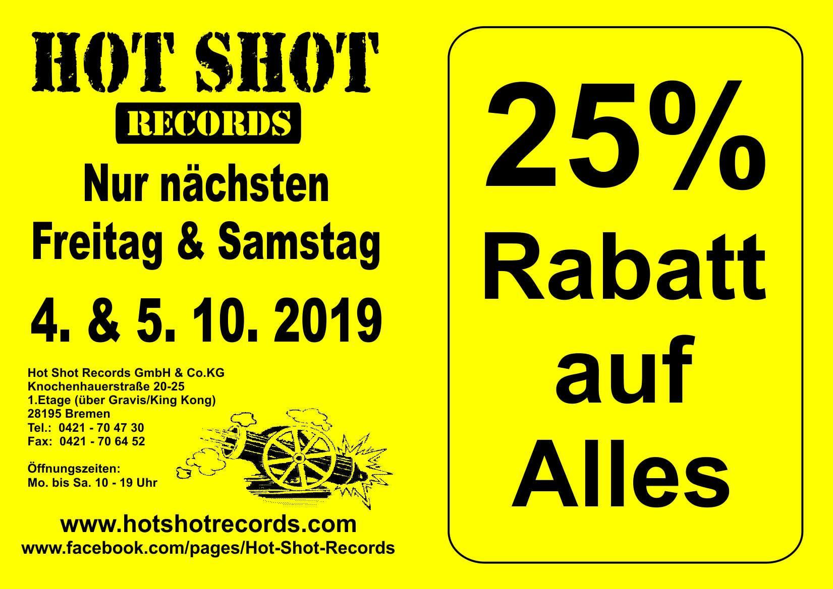 [Lokal: Bremen] 25% auf alles (Vinyl, CDs etc.) bei Hot Shot