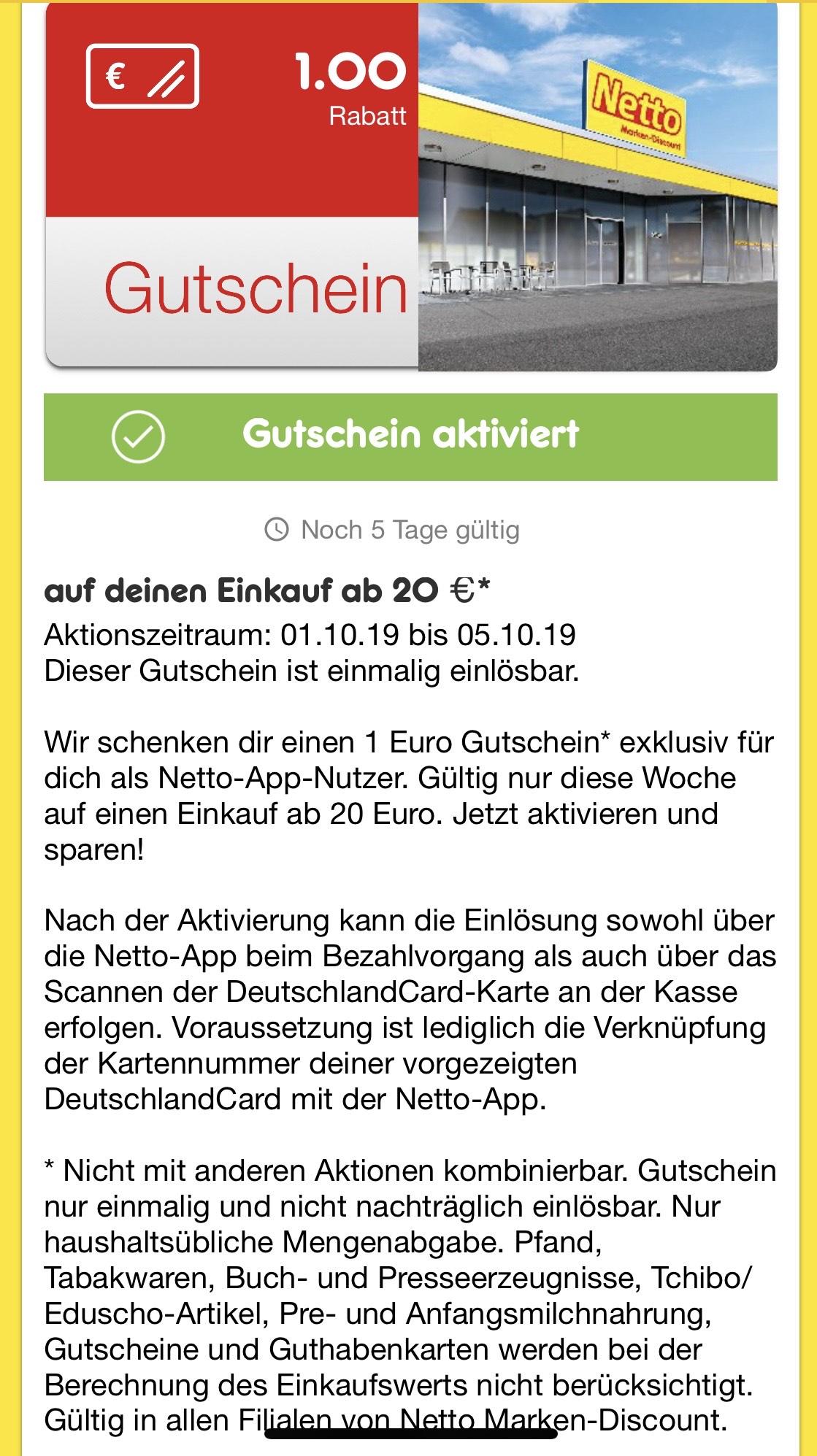 1€ Gutschein in der Netto App bei 20€ Mindesteinkauf