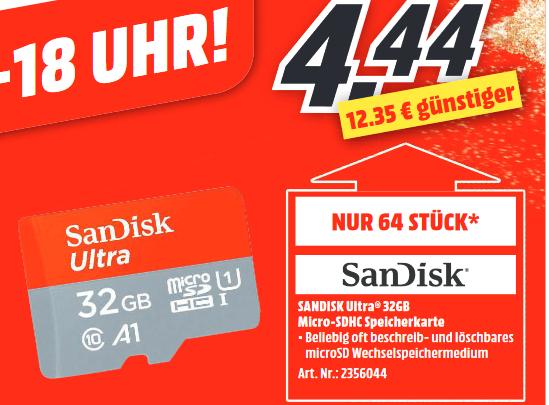 [lokal: MM Ravensburg] SanDisk Ultra A1 microSD 32GB | Dyson V8 ORIGIN =279€ | Samsung Galaxy S9 64GB =366€ | Hama WiFi LED 10W E27 =8,88€