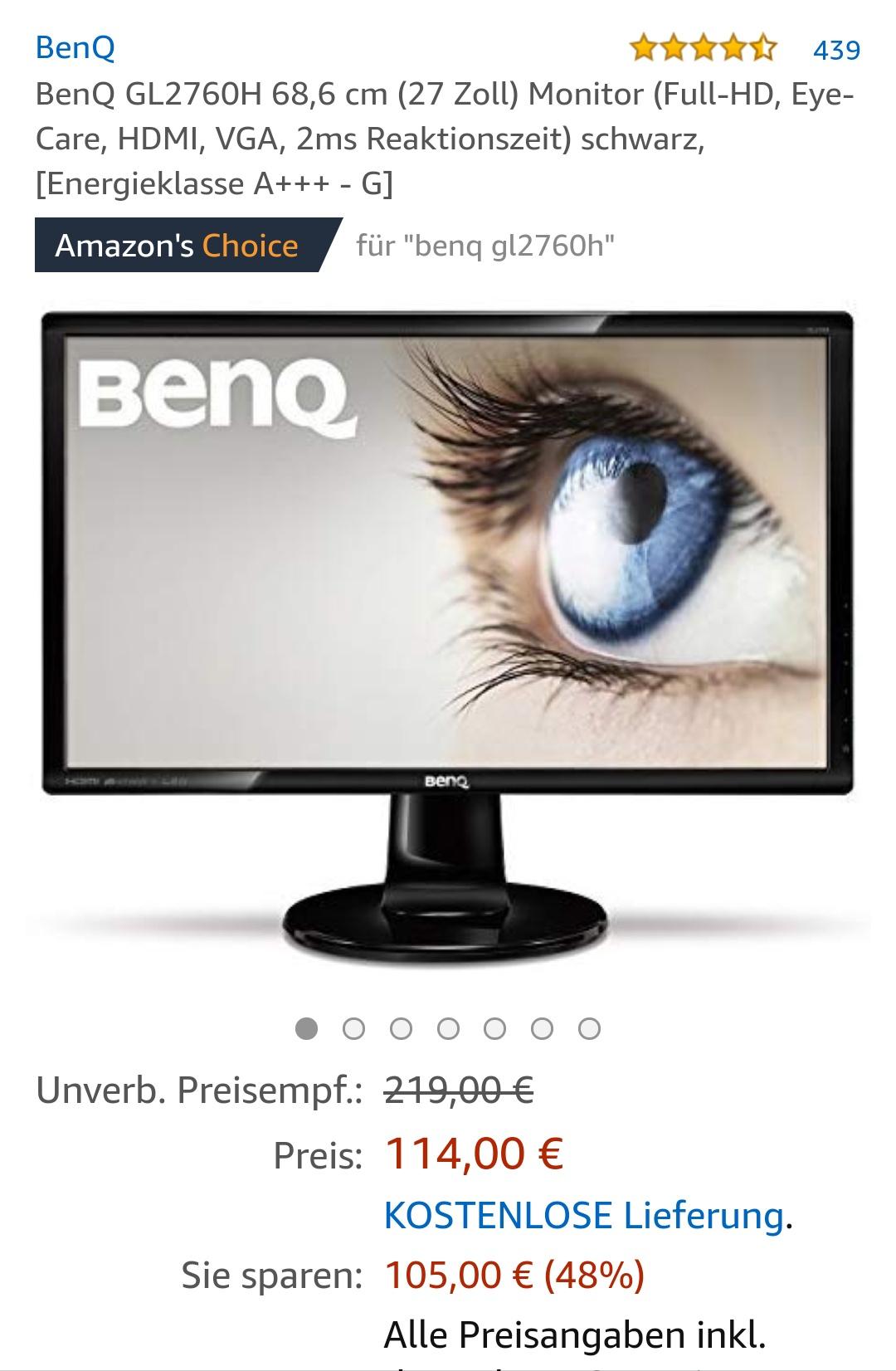 BenQ GL2760H 68,6 cm (27 Zoll) Monitor