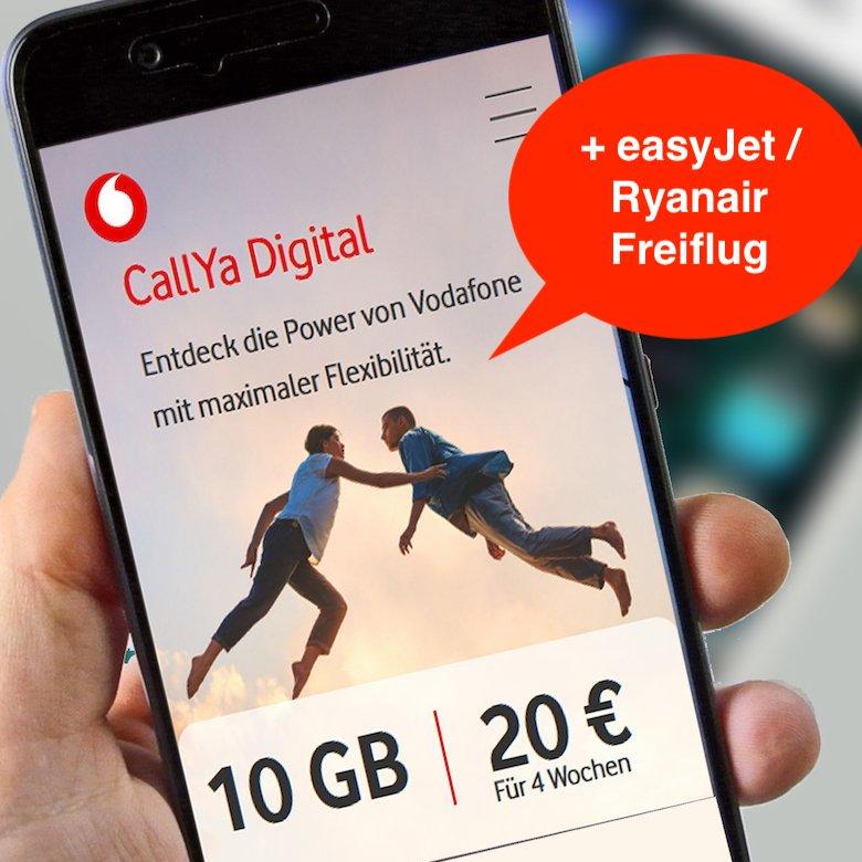[Prepaid] Vodafone CallYa Digital (10GB LTE) für 20€ / 4 Wochen + easyJet / Ryanair Freiflug nach Rufnummernportierung mit 25€ Bonus