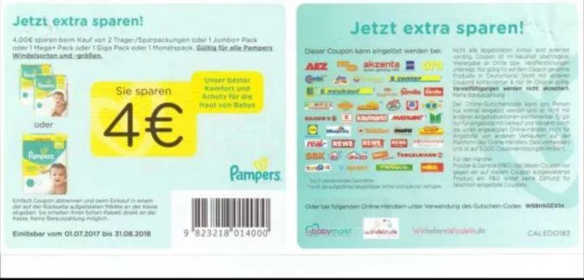 4€ Pampers Gutschein