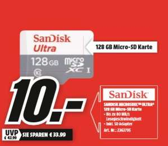 [Regional Mediamarkt Herzogenrath-Nur Samstag von 20-22 Uhr] SanDisk Ultra 128GB microSDXC Speicherkarte ,Class 10,U1 für 10,-€ oder 8,50€