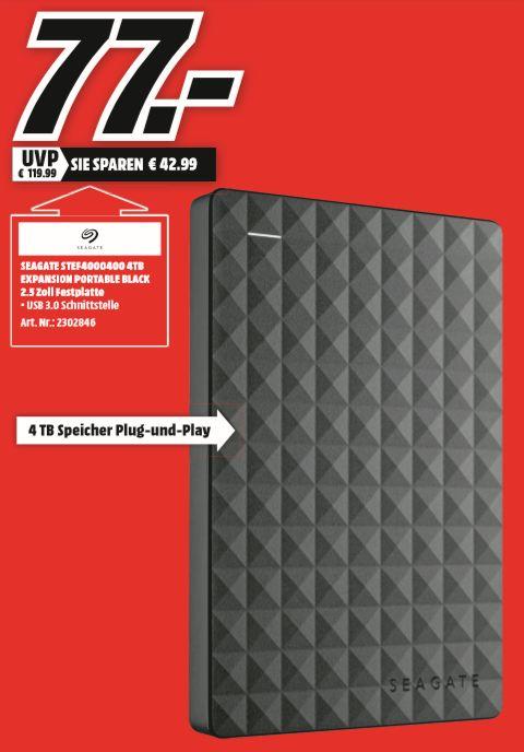 [Regional Mediamarkt Herzogenrath-Nur Samstag von 20-22 Uhr] SEAGATE Expansion+ Portable, 4 TB HDD, 2.5 Zoll, extern für 77,-€ oder 65,45€