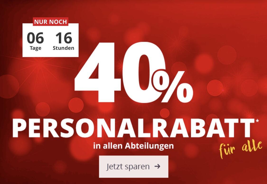 Höffner 40% Personalrabatt für alle auf fast alles online (Lokal Berlin Lichtenberg auf alles)